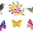 Vector illustration with birds, butterfly and flowers — Stock Vector #7355693