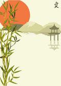 Vecteur de fond japonais avec du bambou et pagode — Vecteur