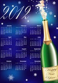 Vector New Years Calendar of 2012 with champagne — Stock Vector