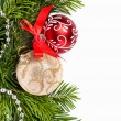 Christmas firtree with golden and red balls - Stock Photo