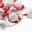 Silver balls and red stars - Stock Photo