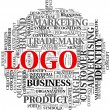 Logo related words in tag cloud — Foto de Stock