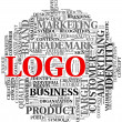 Logo related words in tag cloud — Stockfoto
