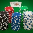 Gambling chips and blackjack — Stock Photo #7300237