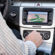 GPS navigation in luxury car - Stock Photo