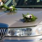 Wedding car flowers decorated — Stock Photo