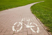 Sign of bicycle road in the city — Stock Photo