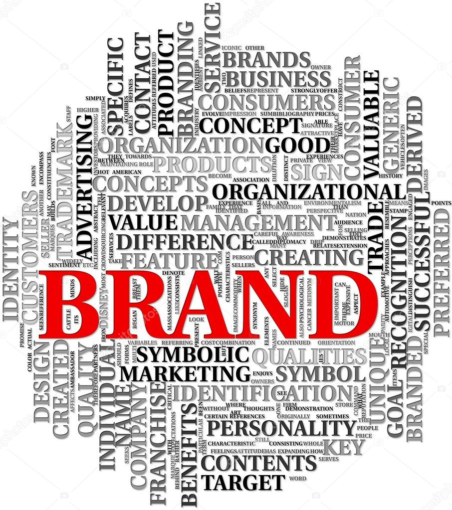 Brand related words in word tag cloud — Stock Photo #7300003