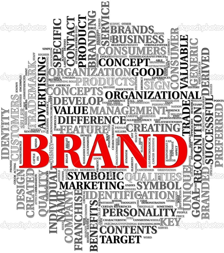 Brand related words in word tag cloud — Lizenzfreies Foto #7300003