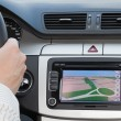 GPS navagation in luxury car - Stock Photo
