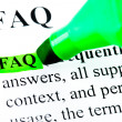 FAQ frequently asked questions highlighted — Foto Stock