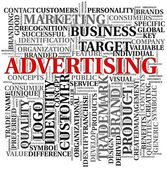 Advertising related words in tag cloud — Stock Photo