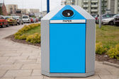 Recycling bin in a city — Stock Photo