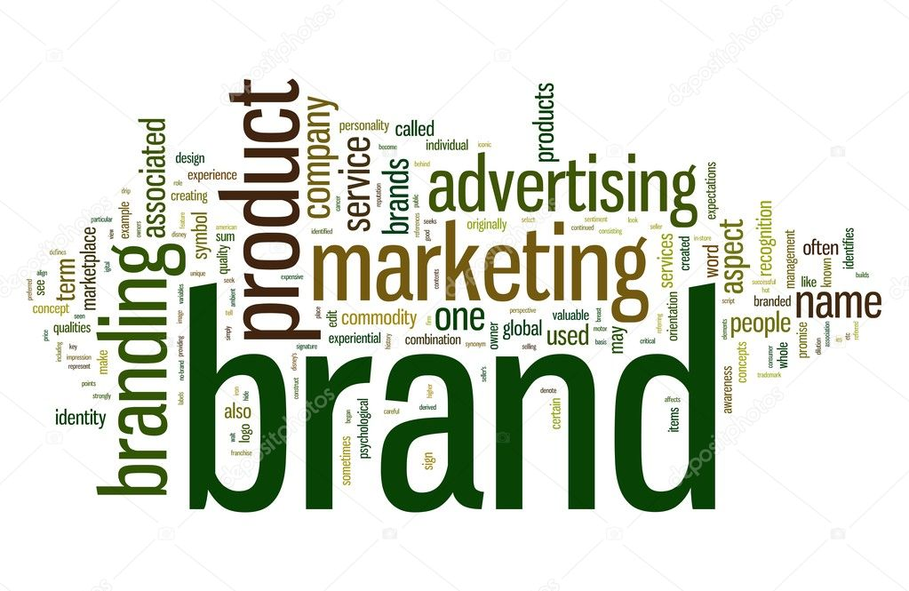 Brand related words in word tag cloud isolated on white  Stock Photo #7678117