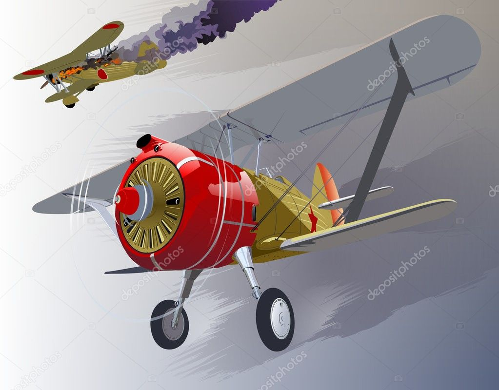 Soviet retro fighter 30-s. Dogfight on the sky 1939. Available ai-10 format with transparency option  Stock Vector #6902607