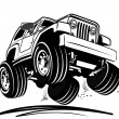 Vector cartoon jeep — Stock Vector