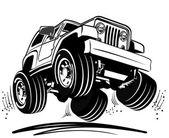 Vector cartoon jeep — Stock Vector