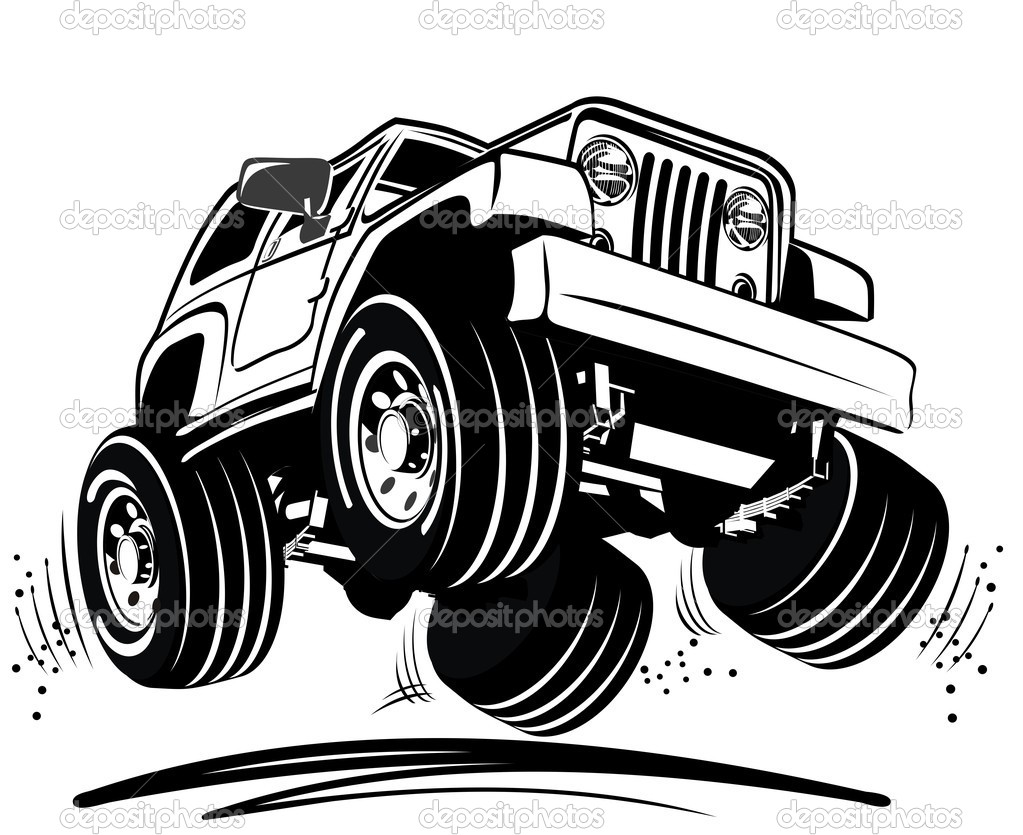 Vector cartoon jeep — Stock Vector #7553291