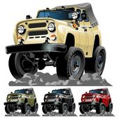 Vector cartoon jeep one click repaint — 图库矢量图片