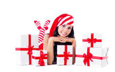 Niña con regalos — Foto de Stock