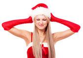 žena, oblečená jako santa — Stockfoto