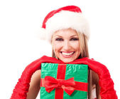 Woman dressed as Santa — Stock Photo
