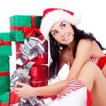 dívka s dárky — Stock fotografie