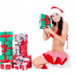 Girl with presents — Stock Photo