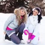 Girls ice skating — Stock Photo