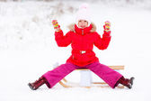 Girl with the sledge — Stock Photo