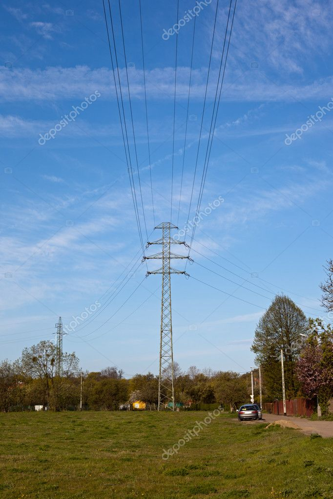 High voltage tower on a background of the sky.  Foto Stock #6803079