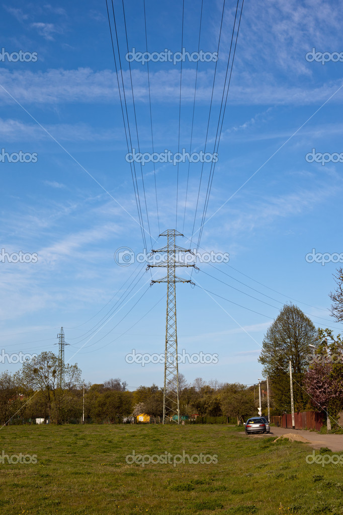 High voltage tower on a background of the sky.  Stockfoto #6803079