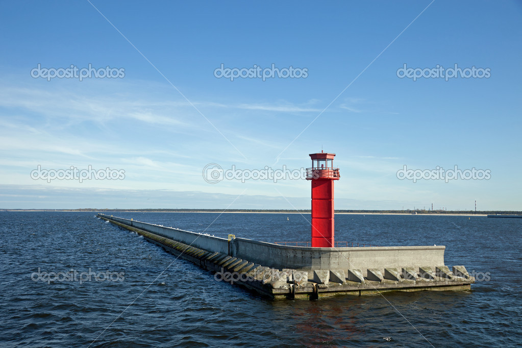 Red lighthouse on the breakwater. — Stock Photo #6803094