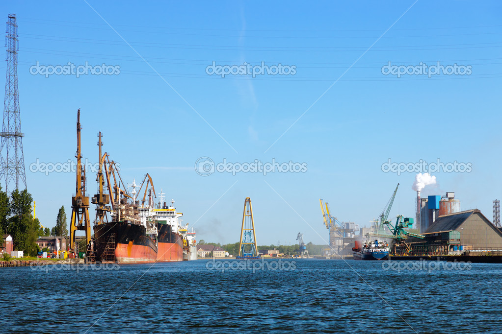 Industrial view at port of Gdansk, Poland.  Stock Photo #6803128