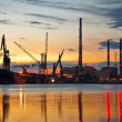 Industrial view at sunset - Stock Photo