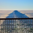 Wake in the frozen sea — Stock Photo