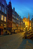 Historic street in Gdansk at night — Stock Photo