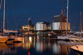 Stavanger harbor at night — Stock Photo