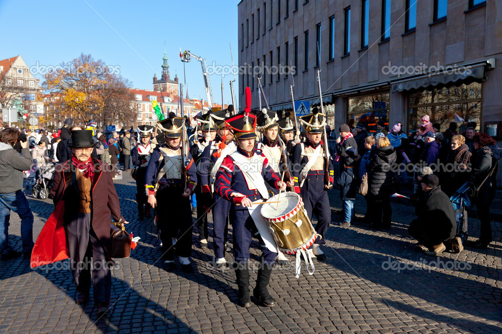 GDANSK, POLAND - NOVEMBER 11: Historical polish soldiers parade celebrating the 92nd Polish Independence Day on November 11, 2011 in Gdansk. — Stock Photo #7892301