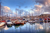 Boats in the harbor of Barcelona — Stock Photo