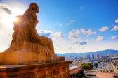 Barcelona view from Catalunya National Museum of Art — Foto de Stock