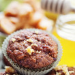 Muffins with banana and toffee — Stock Photo