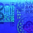 100 pln polish banknote in ultraviolet light — Stock Photo