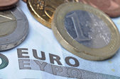 Euro coins and banknote — Stock Photo