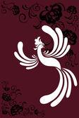 Bird a phoenix abstract beautiful decoration illustration — Stock Vector