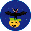 Bat and pumpkin — Stock Vector