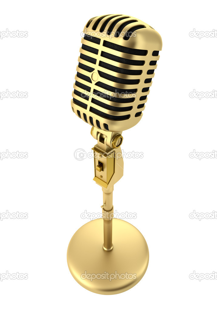 Golden vintage microphone isolated on white background — Stock Photo #7194175