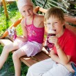 Two children eating ice cream in park - Стоковая фотография