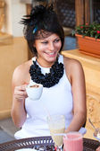 Lovely lady with coffee cup — Stock Photo