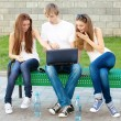 Group of college students outdoors — Stock Photo